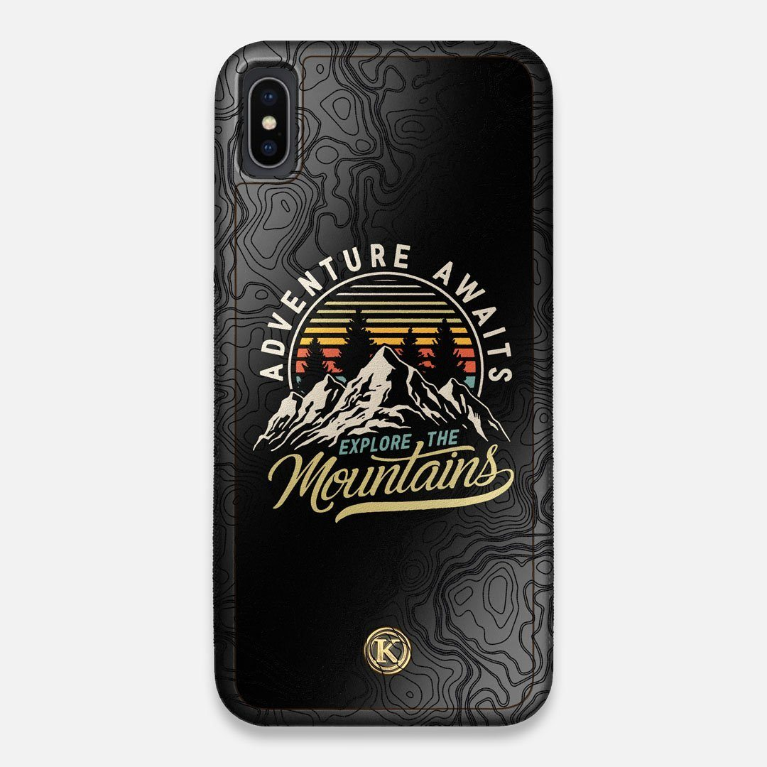 Front view of the crisp topographical map with Explorer badge printed on matte black impact acrylic iPhone XS Max Case by Keyway Designs