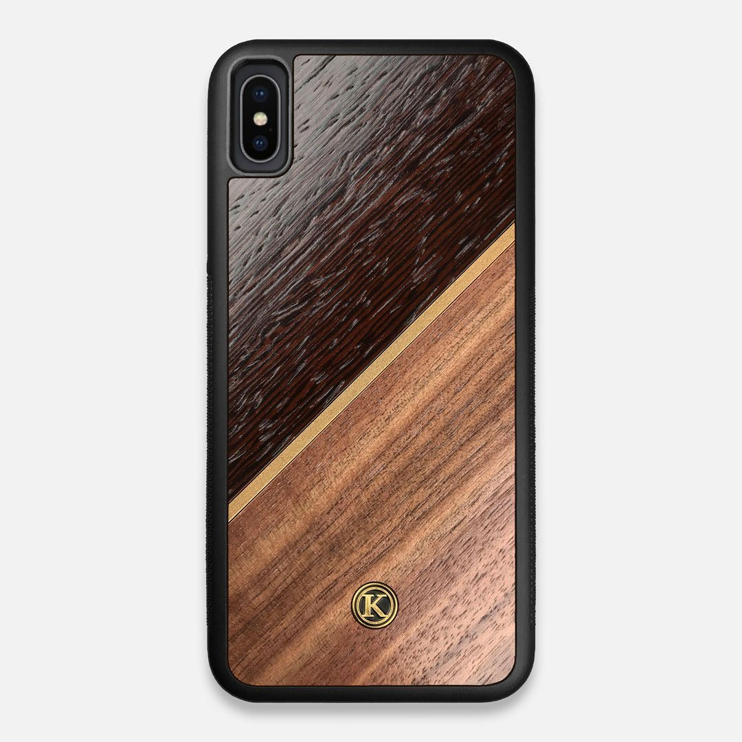 Front view of the Alium Walnut, Gold, and Wenge Elegant Wood iPhone XS Max Case by Keyway Designs