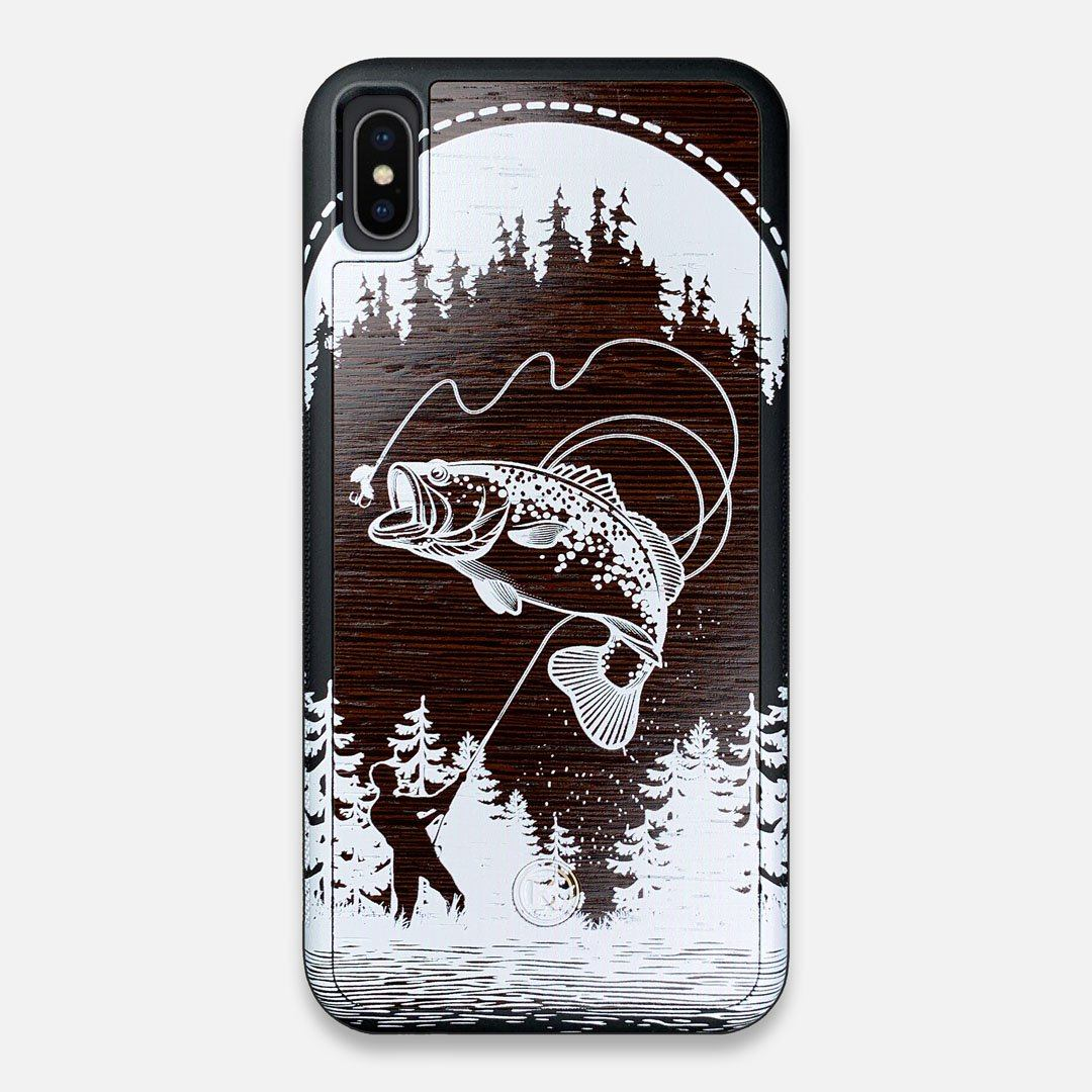 Front view of the high-contrast spotted bass printed Wenge Wood iPhone XS Max Case by Keyway Designs