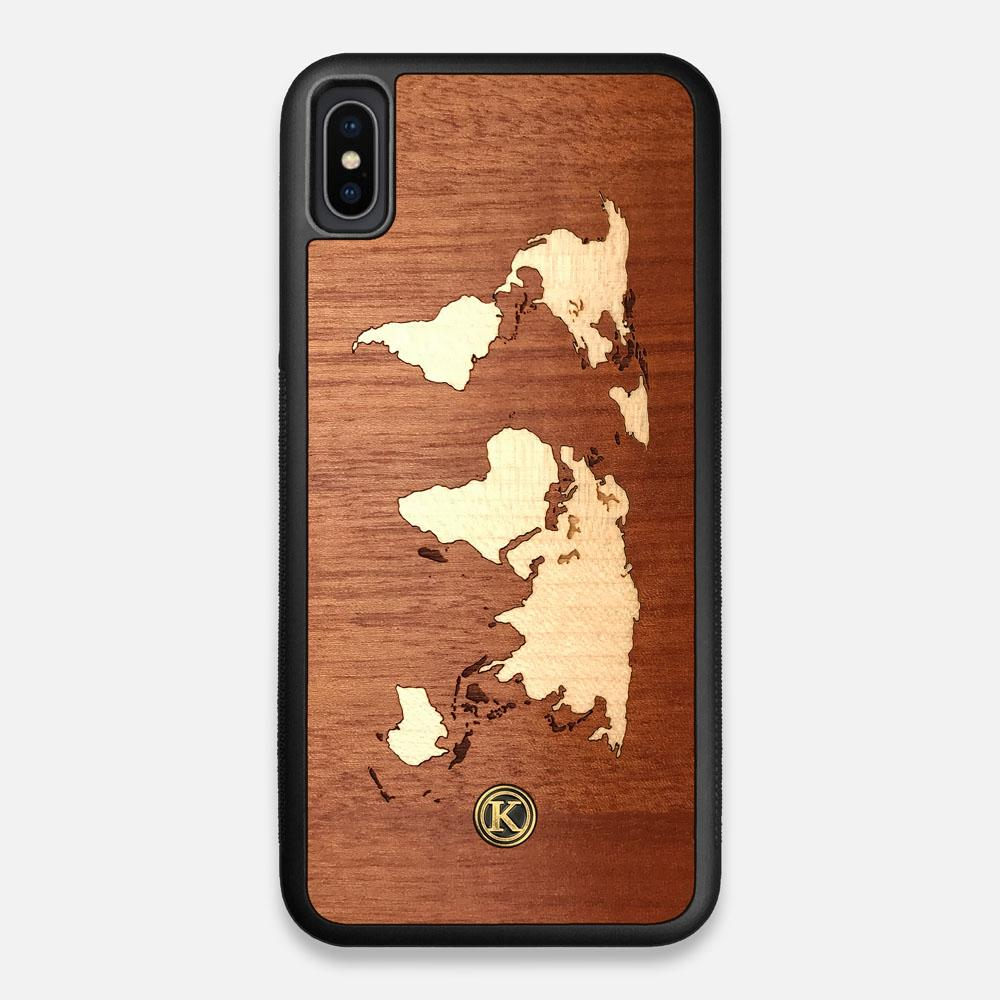 Front view of the Atlas Sapele Wood iPhone XS Max Case by Keyway Designs