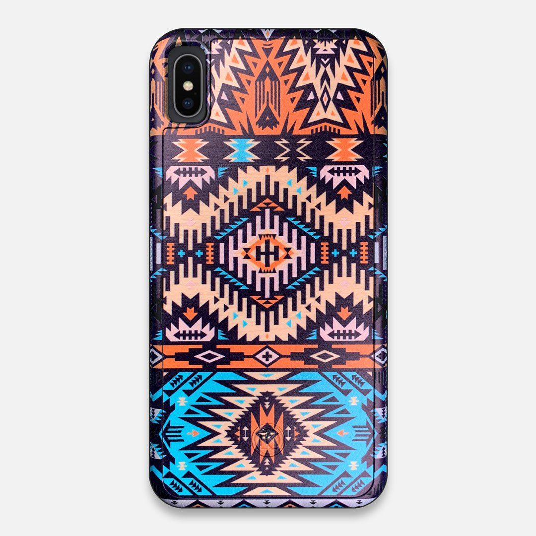 Front view of the vibrant Aztec printed Maple Wood iPhone XS Max Case by Keyway Designs