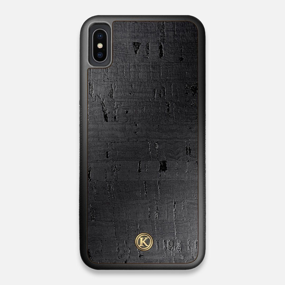 Front view of the dyed black natural cork iPhone XS Max Case by Keyway Designs