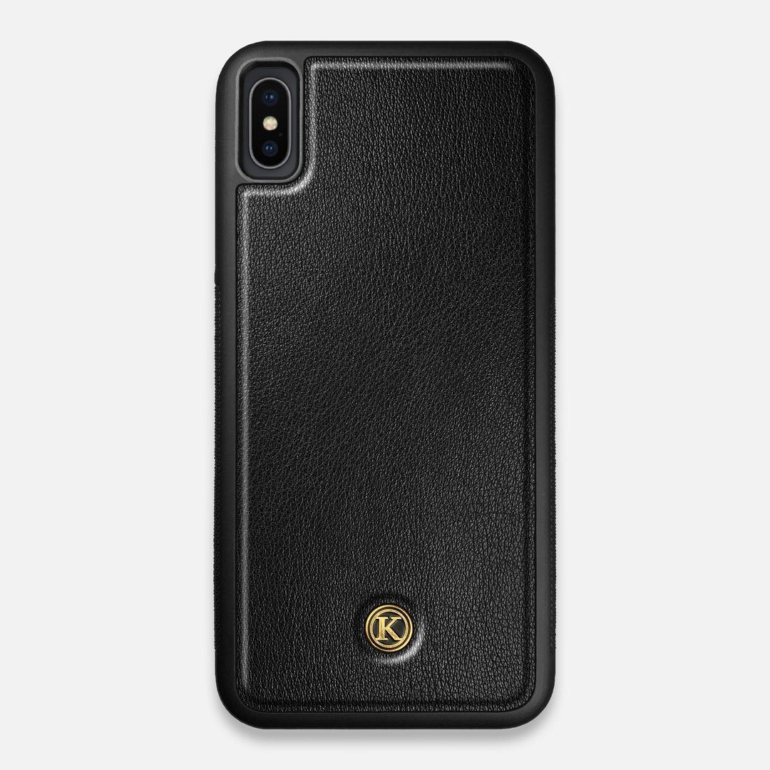 Front view of the Blank Black Leather iPhone XS Max Case by Keyway Designs