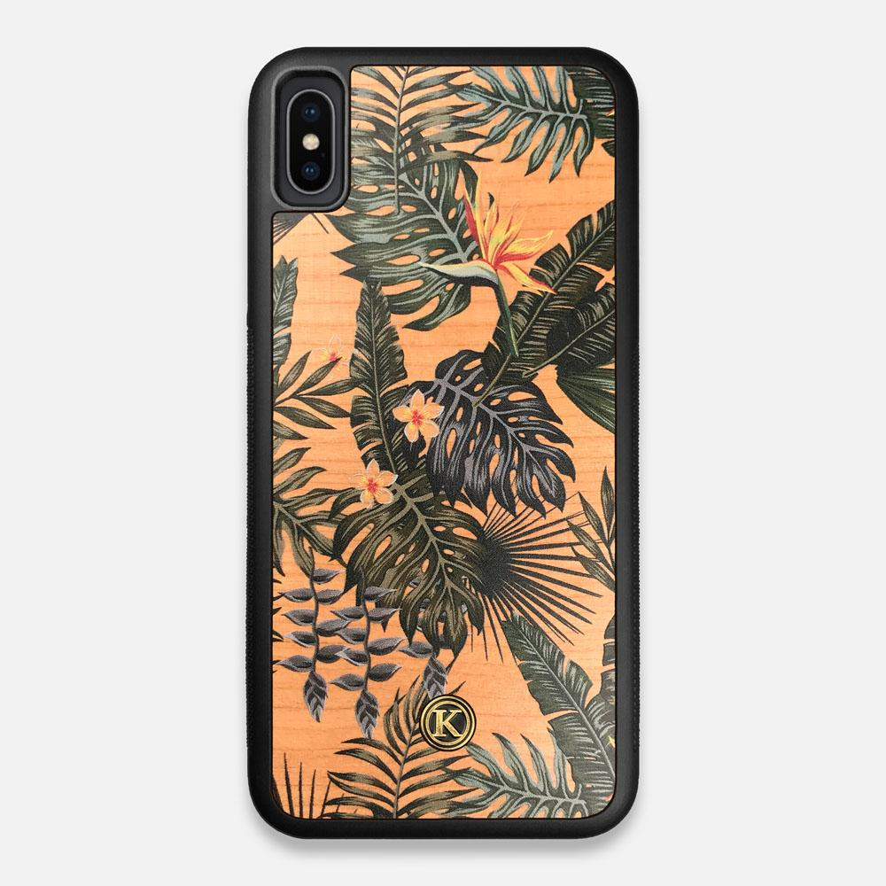 Front view of the Floral tropical leaf printed Cherry Wood iPhone XS Max Case by Keyway Designs
