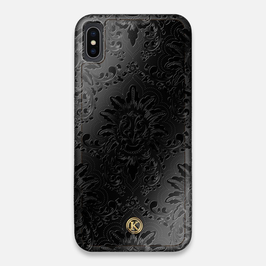 Front view of the detailed gloss Damask pattern printed on matte black impact acrylic iPhone XS Max Case by Keyway Designs