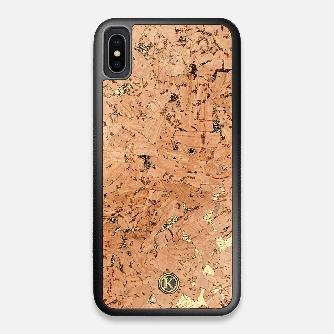 Front view of the gold fleck natural cork iPhone XS Max Case by Keyway Designs