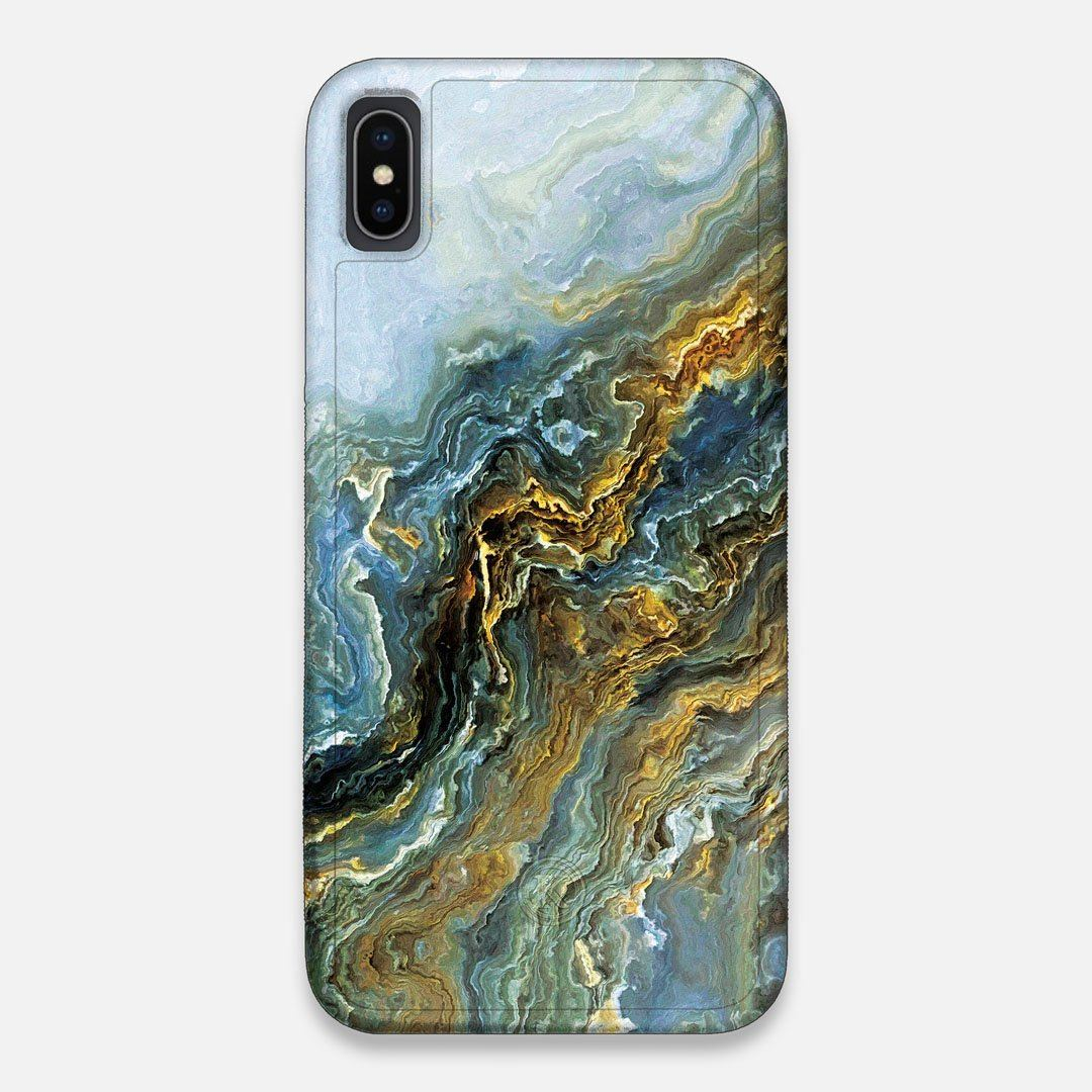 Front view of the vibrant and rich Blue & Gold flowing marble pattern printed Wenge Wood iPhone XS Max Case by Keyway Designs