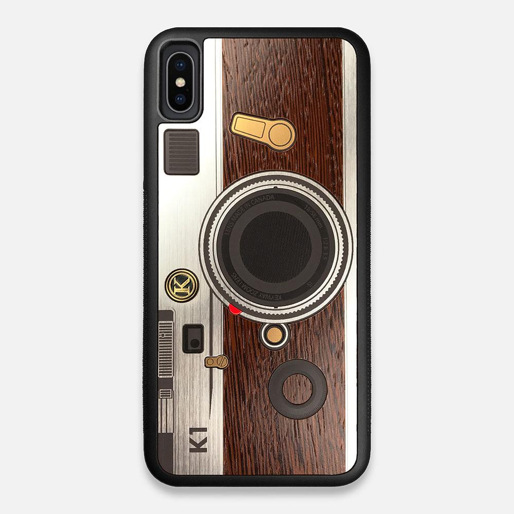 Front view of the classic Camera, silver metallic and wood iPhone XS Max Case by Keyway Designs