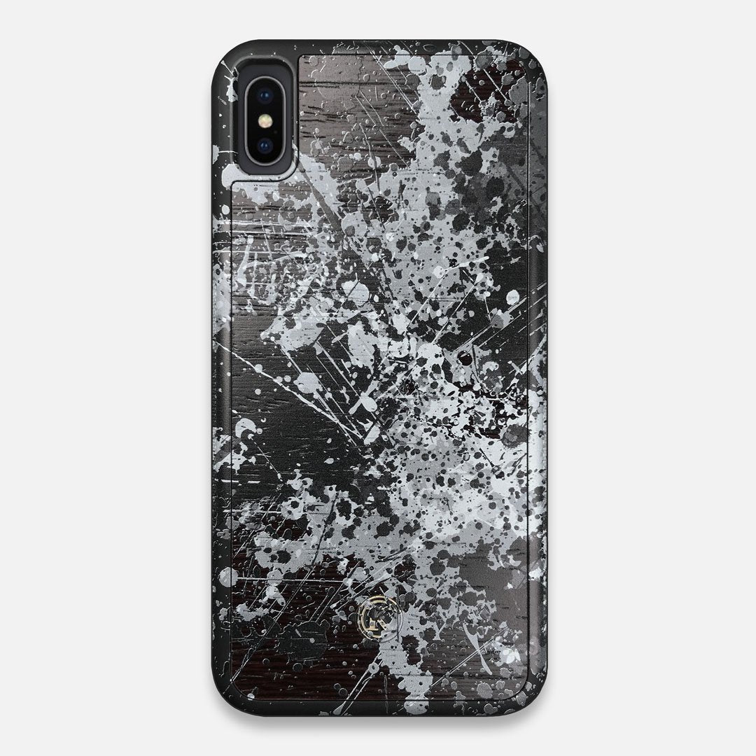 Front view of the aggressive, monochromatic splatter pattern overprintedprinted Wenge Wood iPhone XS Max Case by Keyway Designs