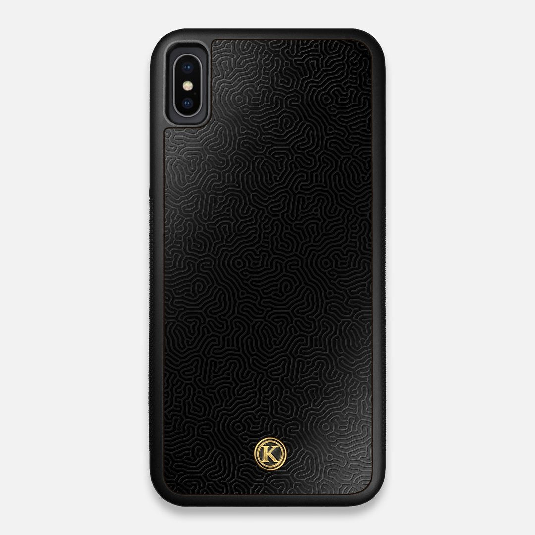 Front view of the highly detailed organic growth engraving on matte black impact acrylic iPhone XS Max Case by Keyway Designs