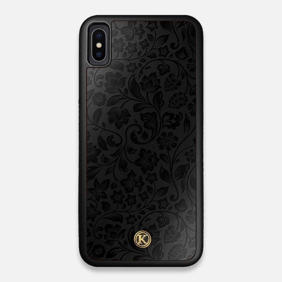 Front view of the highly detailed midnight floral engraving on matte black impact acrylic iPhone XS Max Case by Keyway Designs