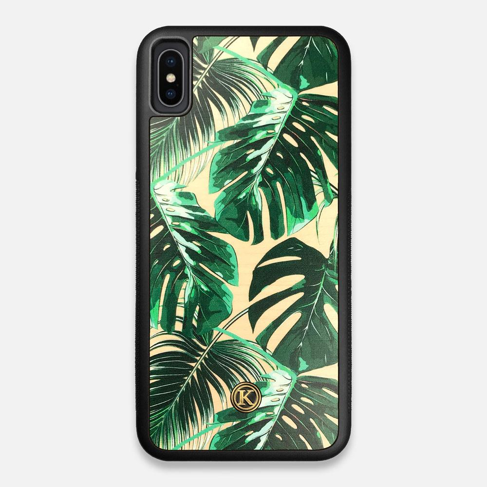 Front view of the Palm leaf printed Maple Wood iPhone XS Max Case by Keyway Designs
