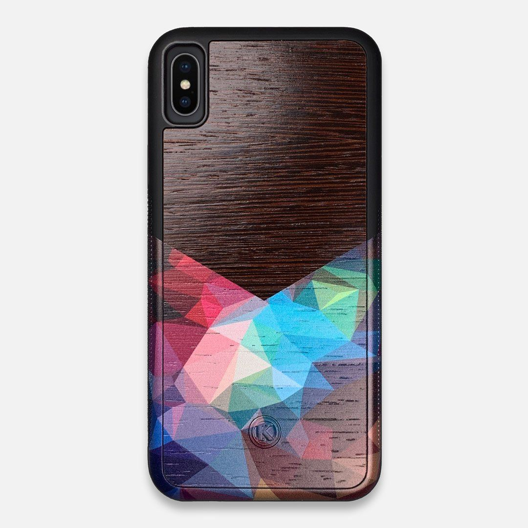 Front view of the vibrant Geometric Gradient printed Wenge Wood iPhone XS Max Case by Keyway Designs