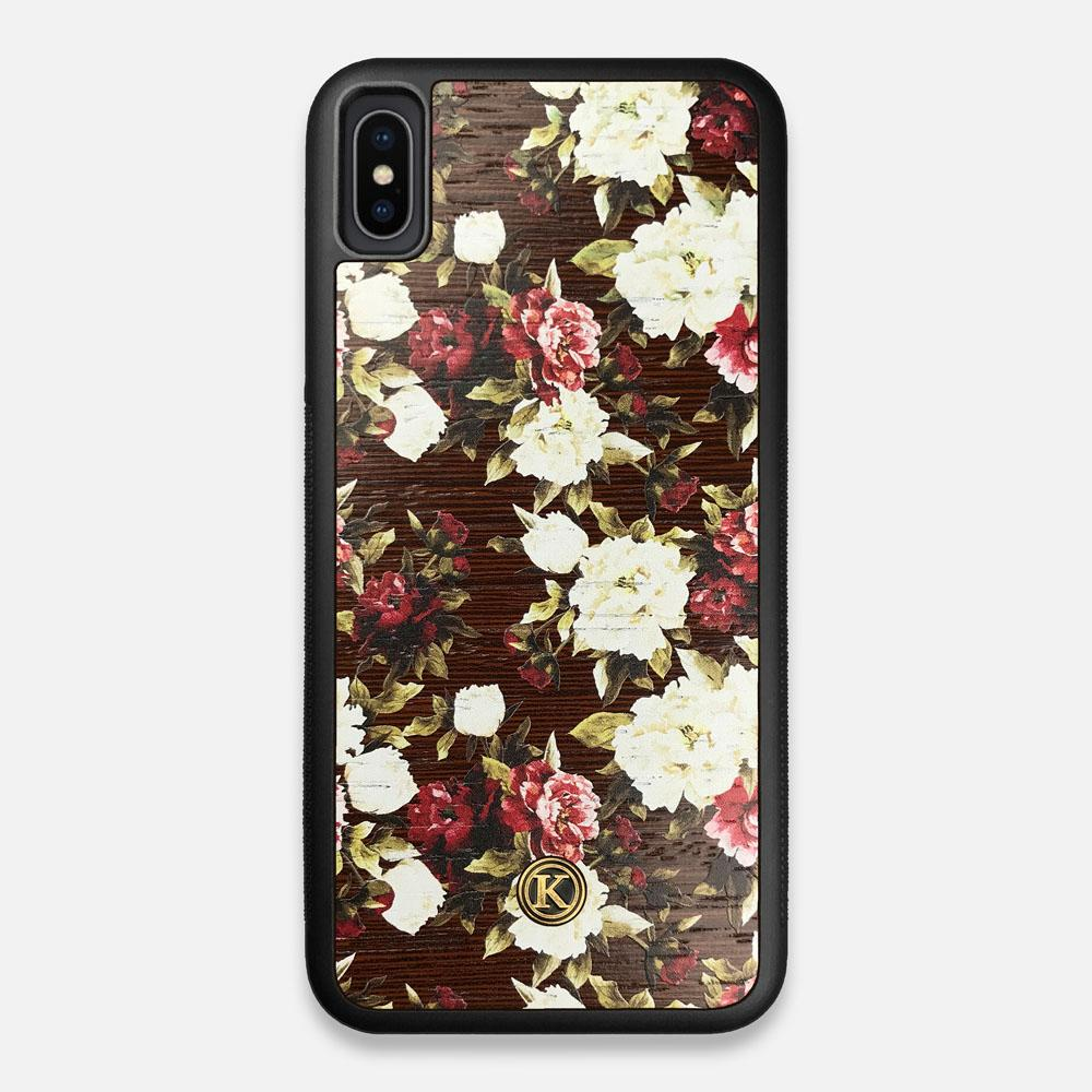 Front view of the Rose white and red rose printed Wenge Wood iPhone XS Max Case by Keyway Designs