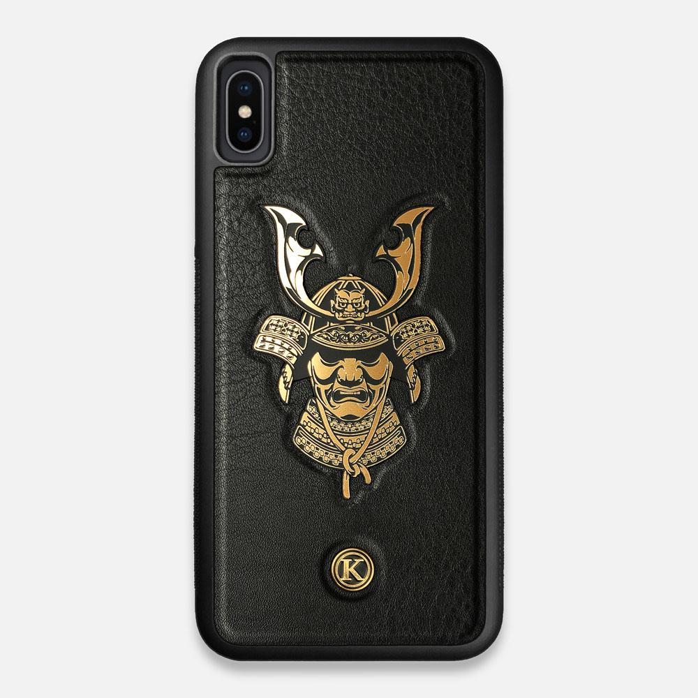 Front view of the Samurai Black Leather iPhone XS Max Case by Keyway Designs
