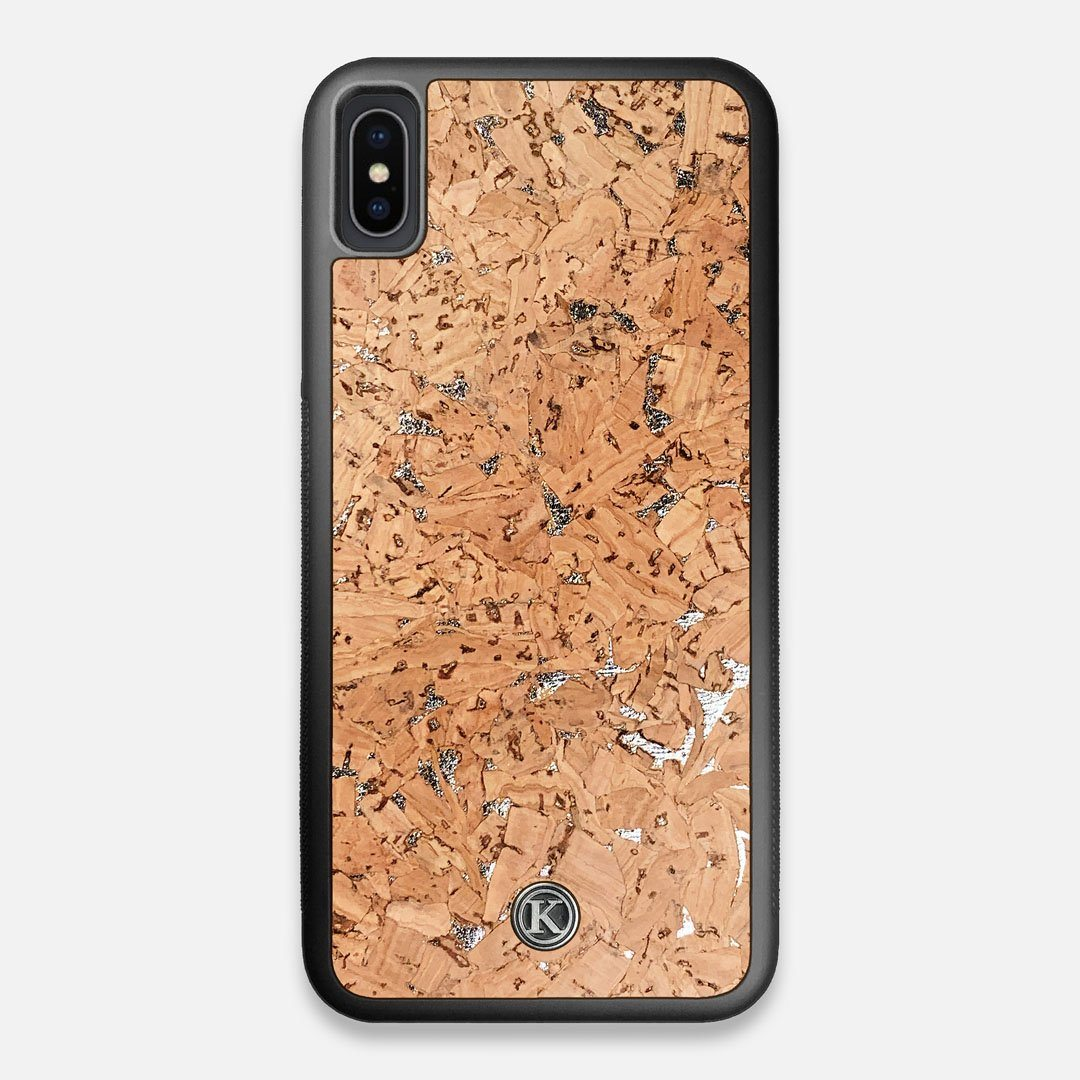 Front view of the silver fleck natural cork iPhone XS Max Case by Keyway Designs