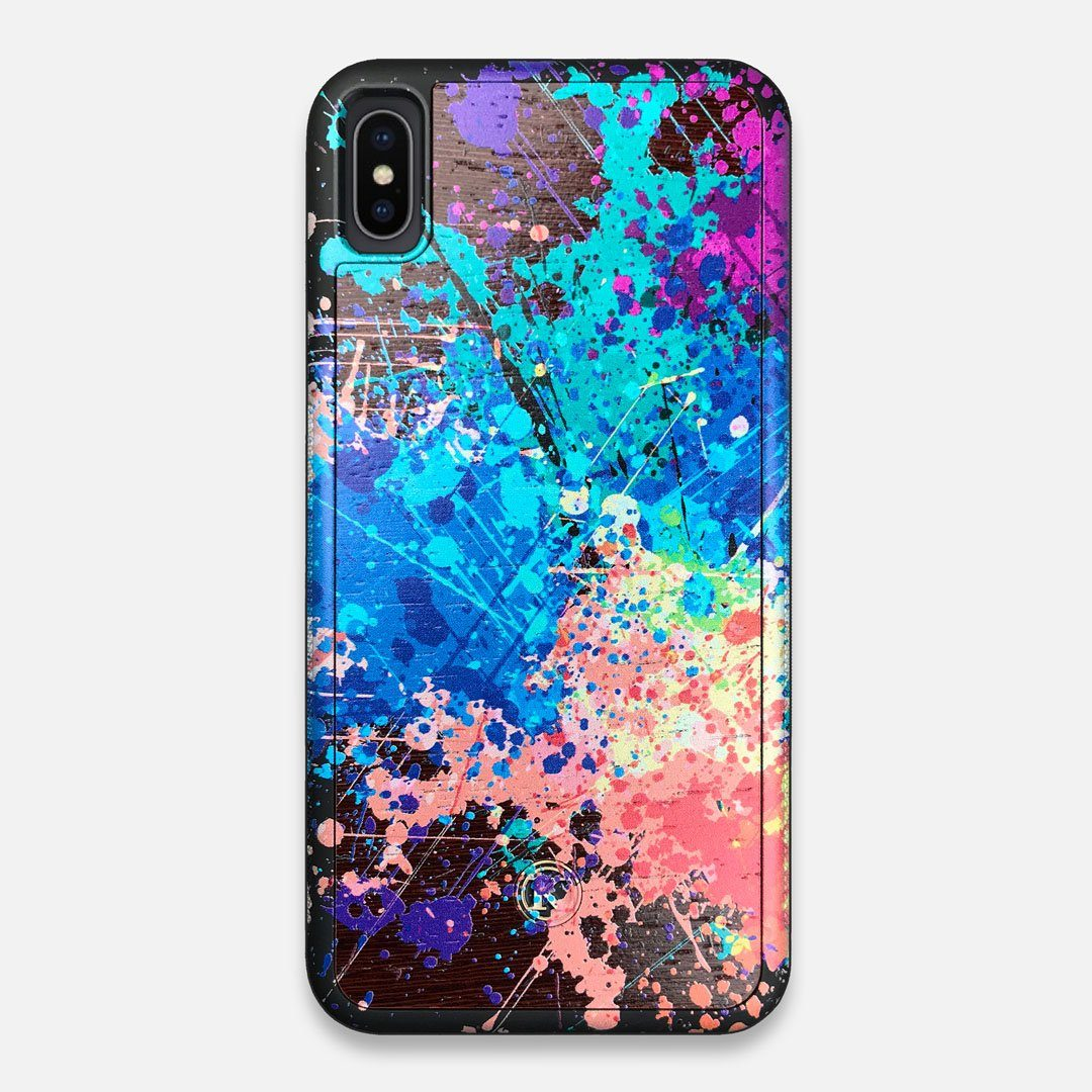 Front view of the realistic paint splatter 'Chroma' printed Wenge Wood iPhone XS Max Case by Keyway Designs