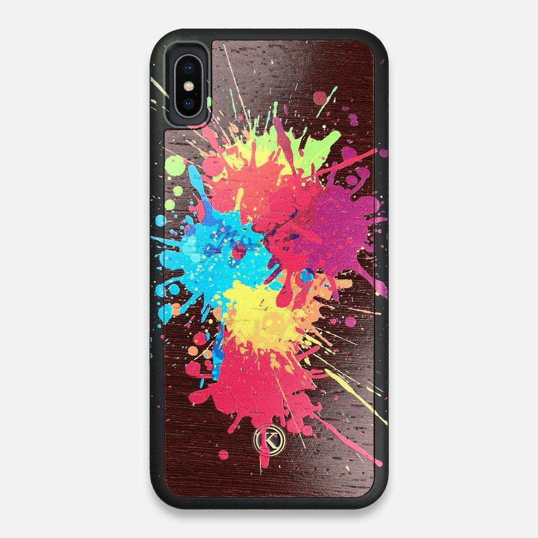 Front view of the illustration-style paint drops printed Wenge Wood iPhone XS Max Case by Keyway Designs