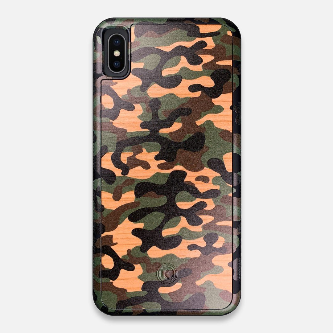 Front view of the stealth Paratrooper camo printed Wenge Wood iPhone XS Max Case by Keyway Designs