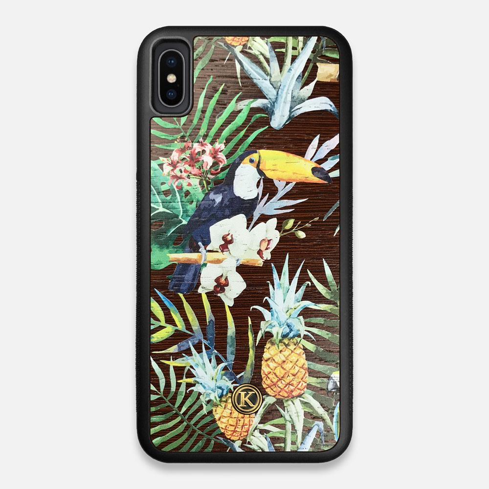 Front view of the Tropic Toucan and leaf printed Wenge Wood iPhone XS Max Case by Keyway Designs