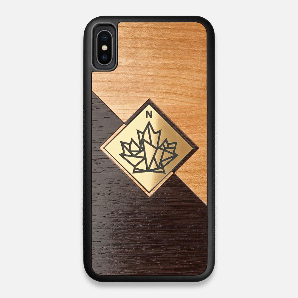 Front view of the True North by Northern Philosophy Cherry & Wenge Wood iPhone XS Max Case by Keyway Designs