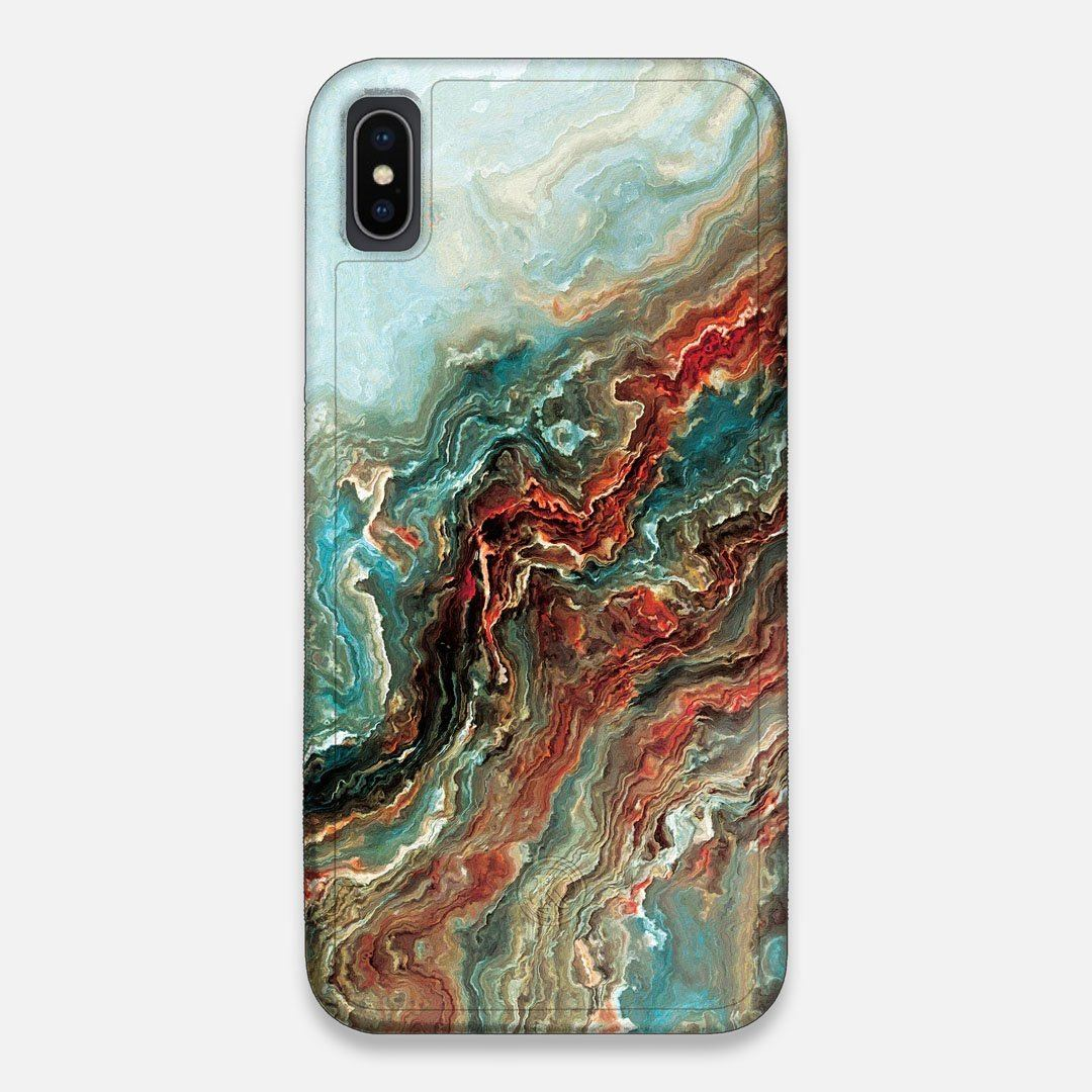 Front view of the vibrant and rich Red & Green flowing marble pattern printed Wenge Wood iPhone XS Max Case by Keyway Designs