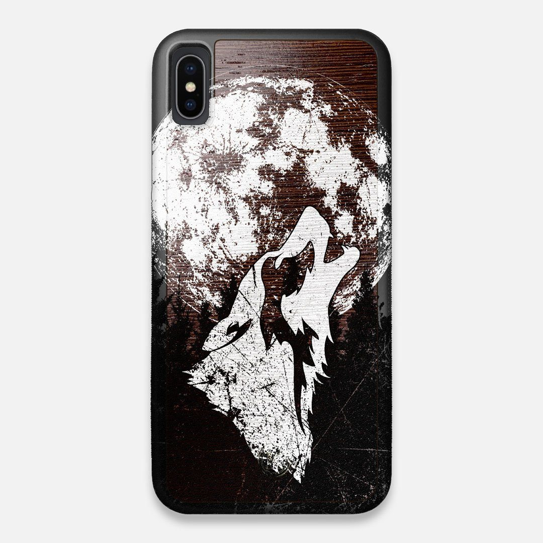 Front view of the high-contrast howling wolf on a full moon printed on a Wenge Wood iPhone XS Max Case by Keyway Designs