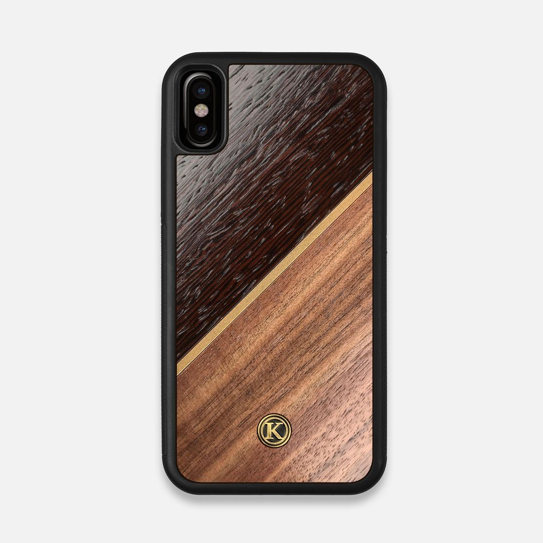 Front view of the Alium Walnut, Gold, and Wenge Elegant Wood iPhone X Case by Keyway Designs