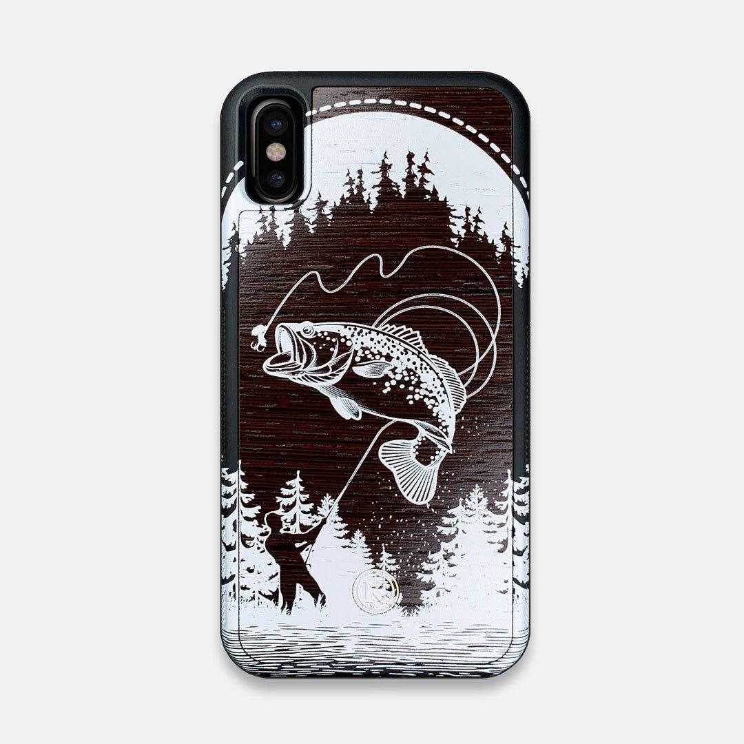 Front view of the high-contrast spotted bass printed Wenge Wood iPhone X Case by Keyway Designs