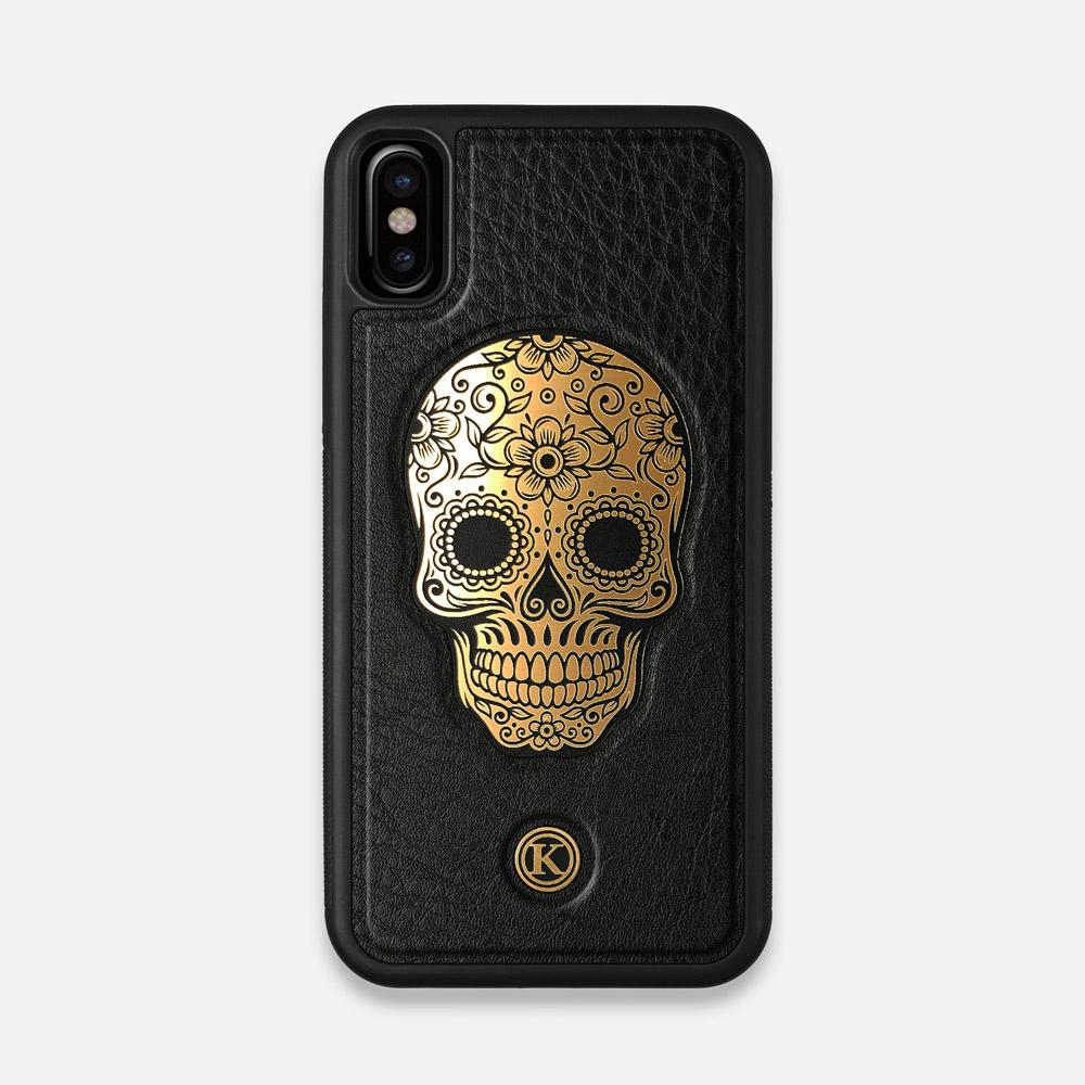 Front view of the Auric Black Leather iPhone X Case by Keyway Designs