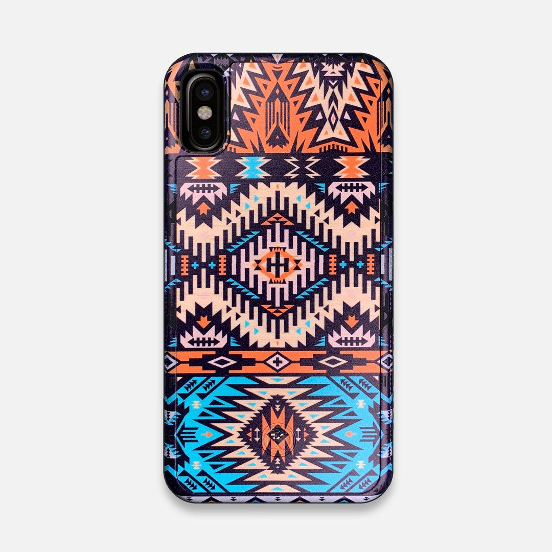 Front view of the vibrant Aztec printed Maple Wood iPhone X Case by Keyway Designs