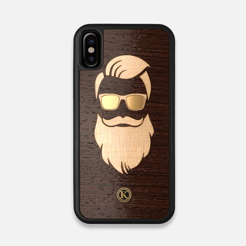 Front view of the The Blonde Beard Wenge Wood iPhone X Case by Keyway Designs