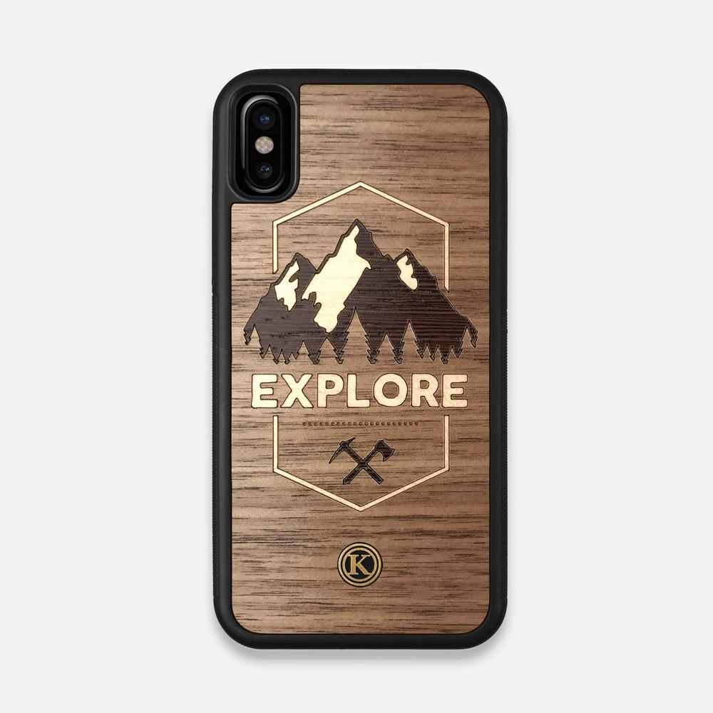 Front view of the Explore Mountain Range Wood iPhone X Case by Keyway Designs