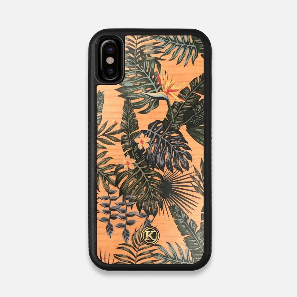 Front view of the Floral tropical leaf printed Cherry Wood iPhone X Case by Keyway Designs