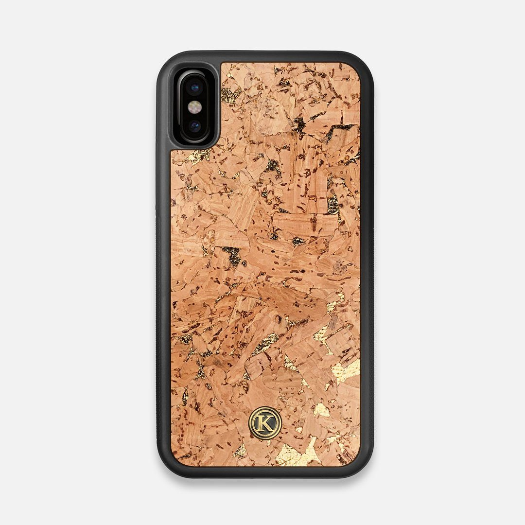 Front view of the gold fleck natural cork iPhone X Case by Keyway Designs