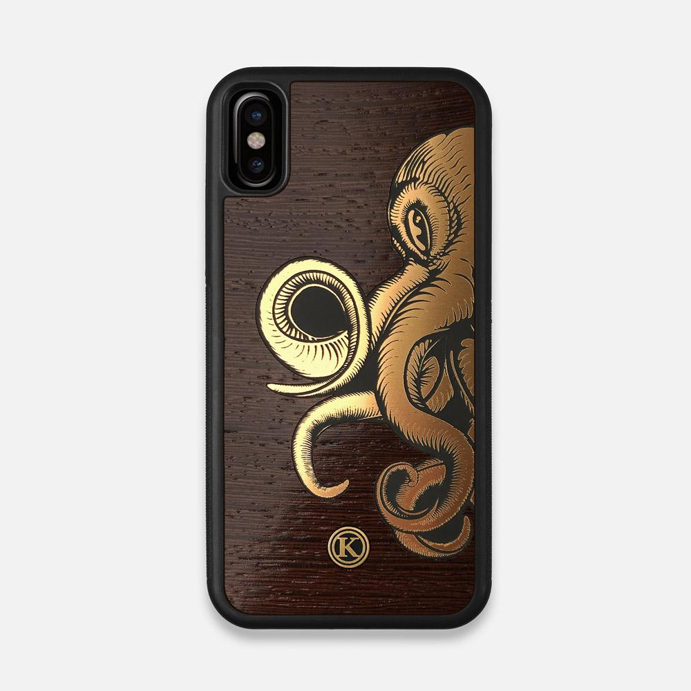 Front view of the Kraken 2.0 Wenge Wood iPhone X Case by Keyway Designs