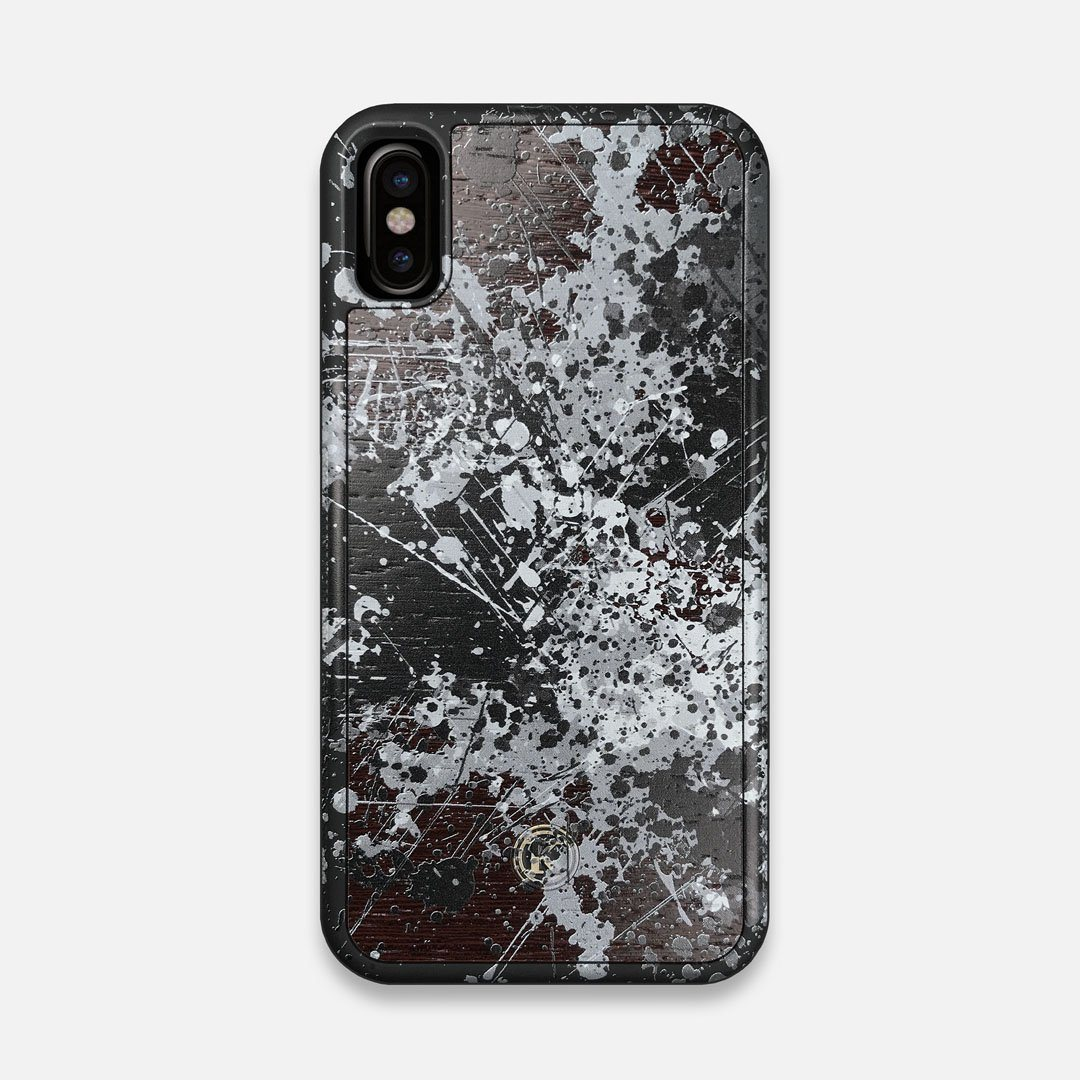 Front view of the aggressive, monochromatic splatter pattern overprintedprinted Wenge Wood iPhone X Case by Keyway Designs