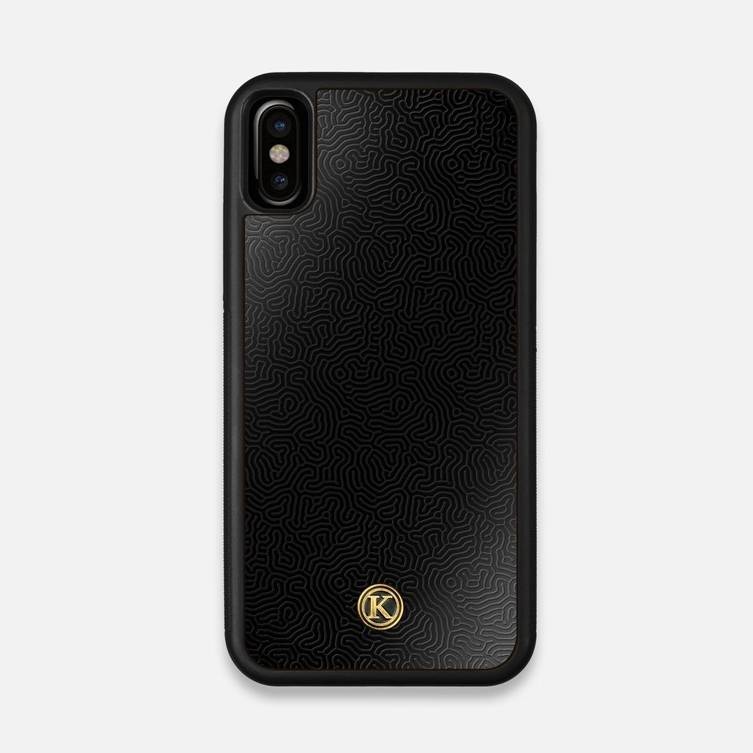 Front view of the highly detailed organic growth engraving on matte black impact acrylic iPhone X Case by Keyway Designs