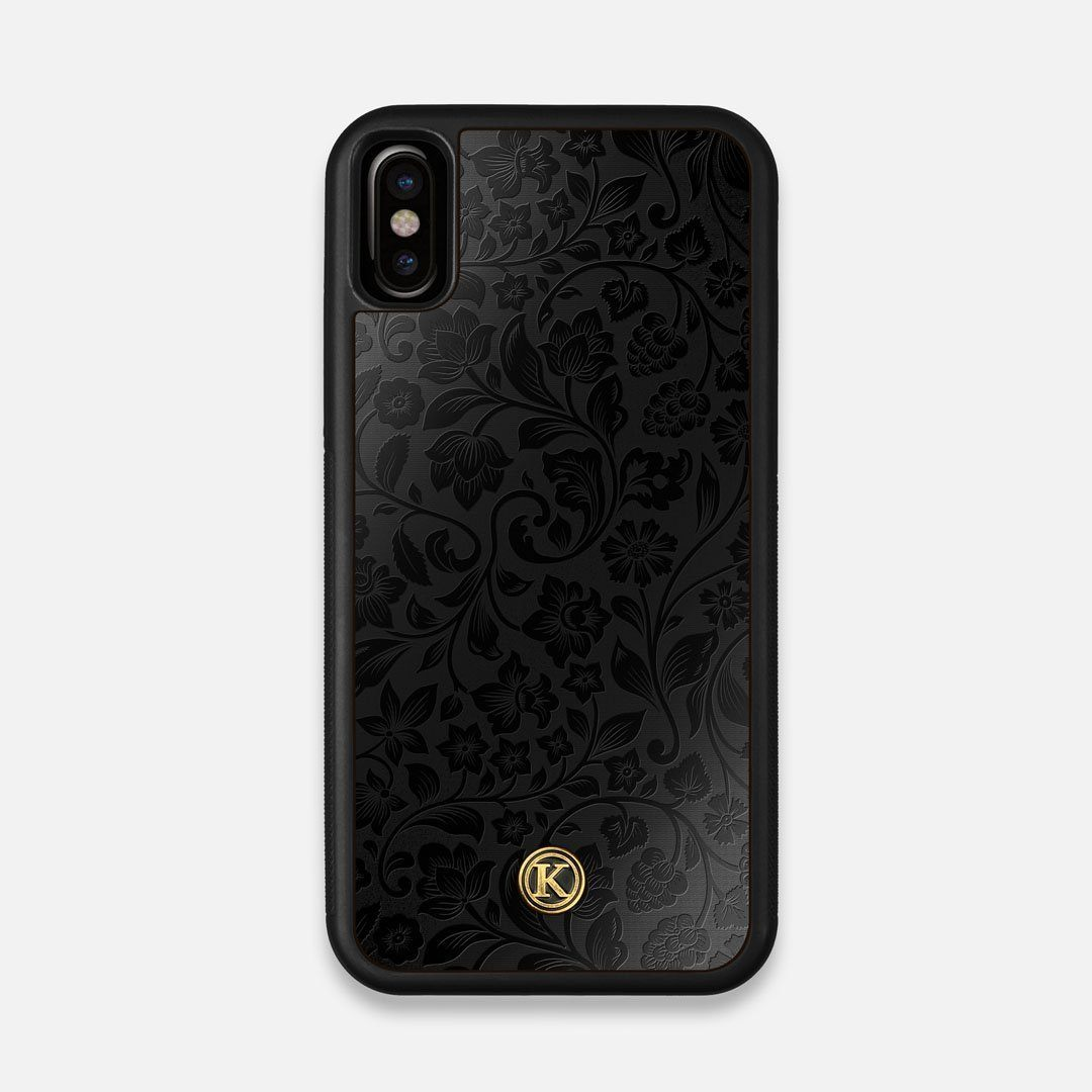 Front view of the highly detailed midnight floral engraving on matte black impact acrylic iPhone X Case by Keyway Designs