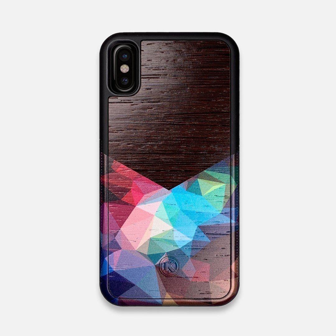 Front view of the vibrant Geometric Gradient printed Wenge Wood iPhone X Case by Keyway Designs
