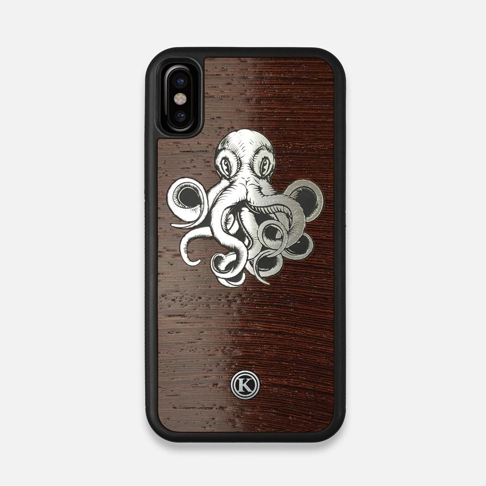 Front view of the Prize Kraken Wenge Wood iPhone X Case by Keyway Designs