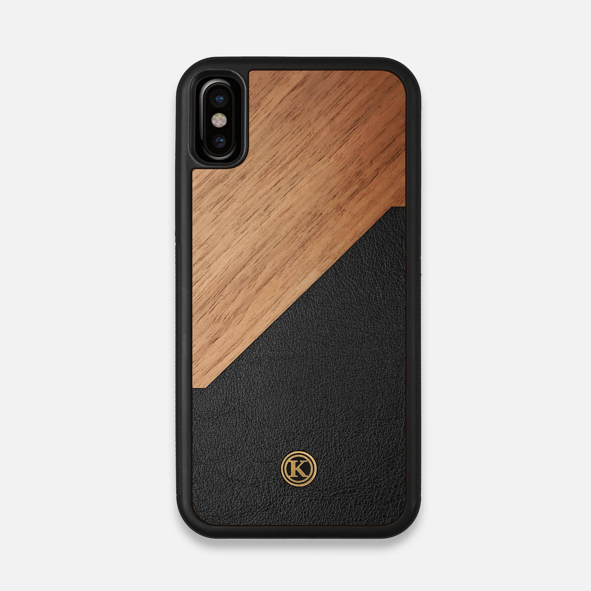 Front view of the Walnut Rift Elegant Wood & Leather iPhone X Case by Keyway Designs