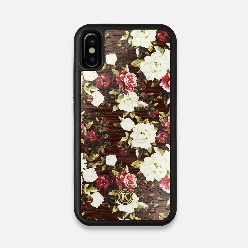 Front view of the Rose white and red rose printed Wenge Wood iPhone X Case by Keyway Designs