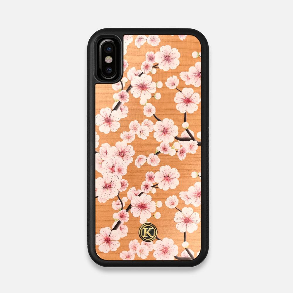 Front view of the Sakura Printed Cherry-blossom Cherry Wood iPhone X Case by Keyway Designs