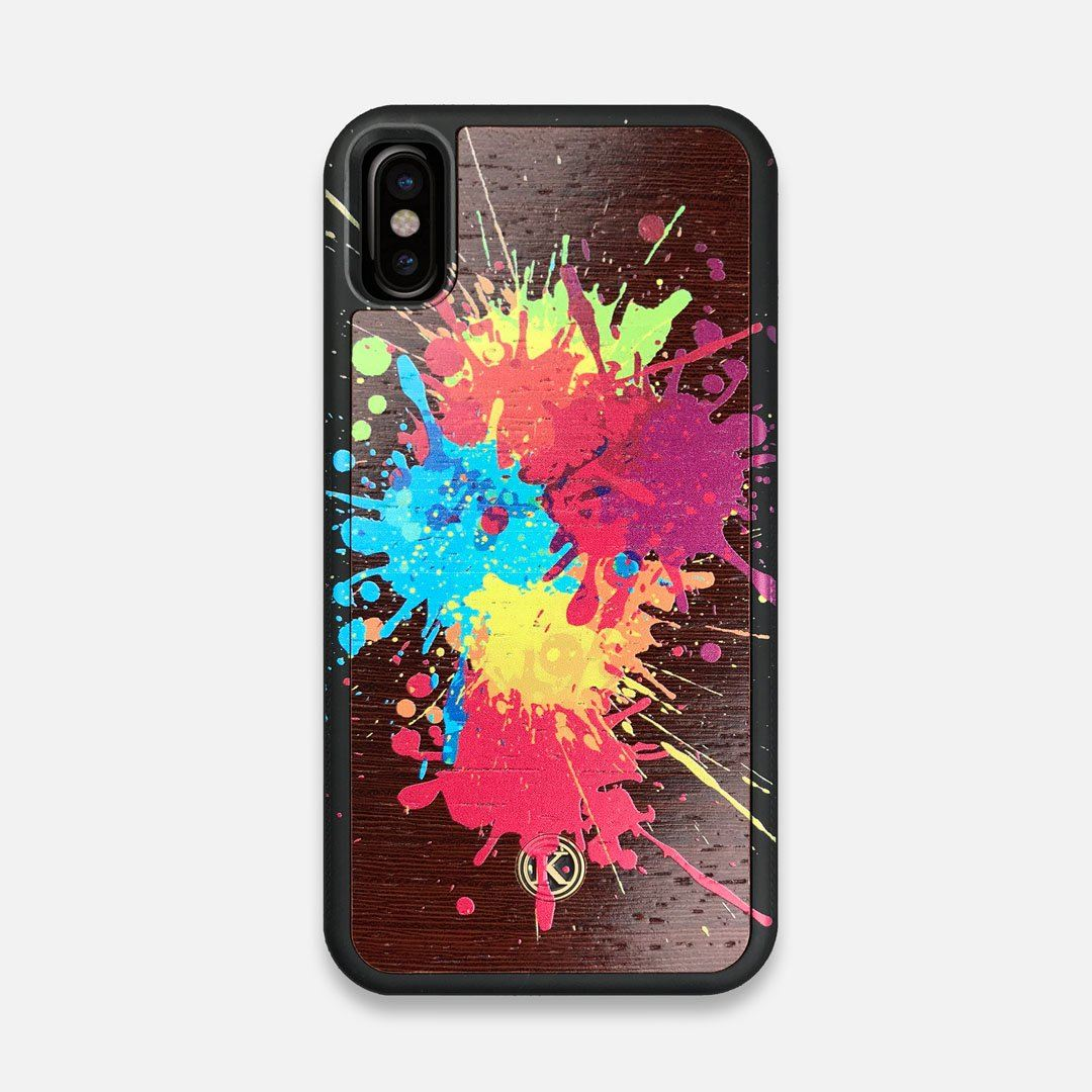 Front view of the illustration-style paint drops printed Wenge Wood iPhone X Case by Keyway Designs