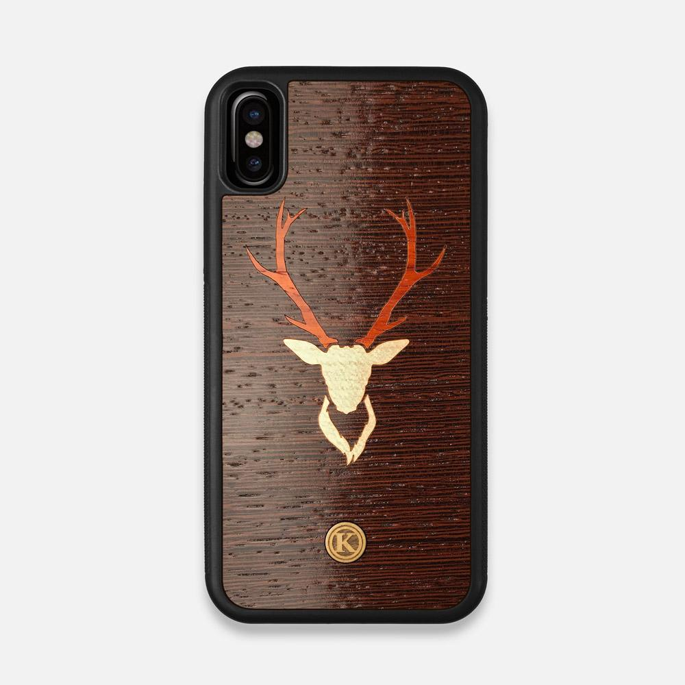 Front view of the Stag Wenge Wood iPhone X Case by Keyway Designs