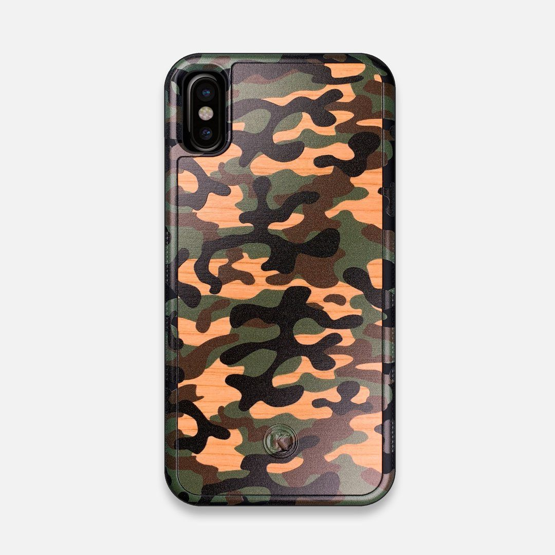 Front view of the stealth Paratrooper camo printed Wenge Wood iPhone X Case by Keyway Designs