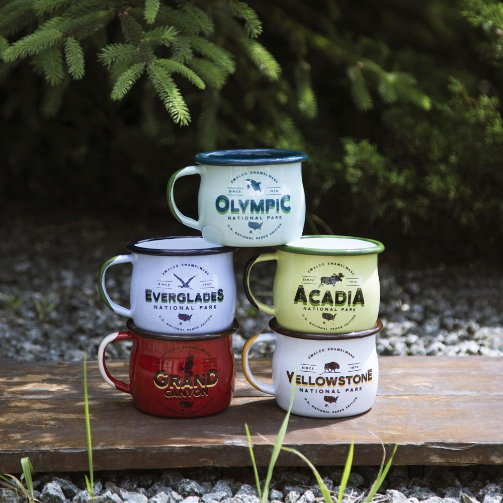 KEYWAY | Emalco - Grand Canyon Bellied Enamel Mug, Handcrafted by Artisans in Poland, Outdoor Stacked Group Shot