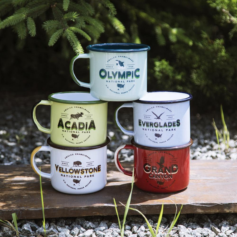 KEYWAY | Emalco - Grand Canyon Large Enamel Mug, Handcrafted by Artisans in Poland, Outdoor Stacked Group Shot
