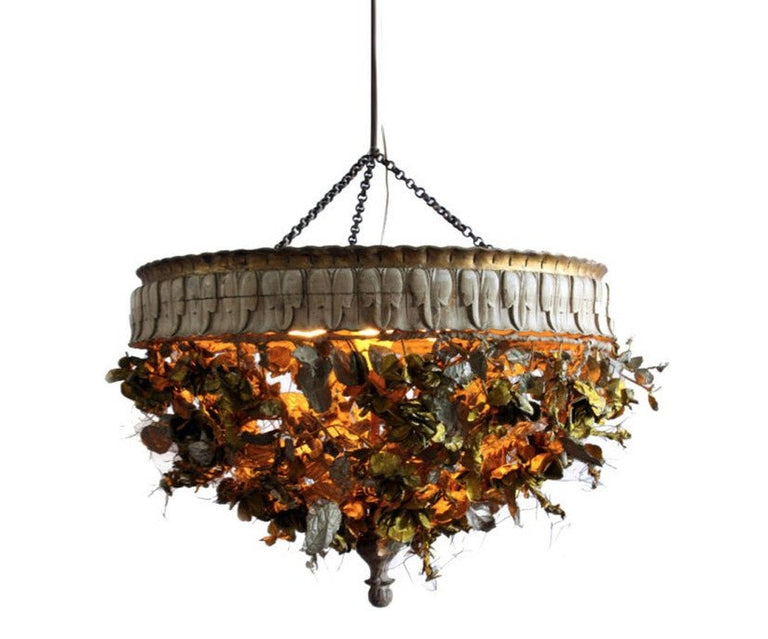 Gold Leaf Wood Chandelier